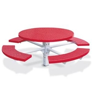 F1005  Round Expanded Steel Picnic Table with (4) Seats & Single Pedestal Post (InGround Mounted)