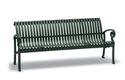 Ashley Collection 6' Vertical Slat Contour Bench with Armrests