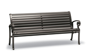 Ashley Collection Horizontal Slat Contour Bench with Armrests