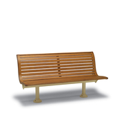 BH1129  Burns Harbor Collection 6' Contour Bench with Horizontal Slat Seat (Surface Mount / Inground Mount)