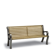 BU1112C  Butler 6' Faux-Wood Contour Bench with Armrests (Portable/Surface Mounted)