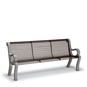 BU1114C  Butler 6' Steel Rod Contour Bench with Armrests (Portable/Surface Mounted)