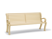 BU1119C  Butler 6' Horizontal Slat Contour Bench with Armrests