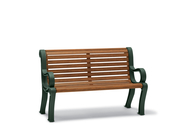 BU8112C  Butler 4' Faux-Wood Contour Bench with Armrests