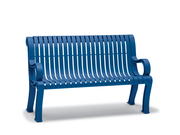 BU8113C  Butler 4' Vertical Slat Contour Bench with Armrests
