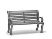 BU8119C  Butler 4' Horizontal Slat Contour Bench with Armrests