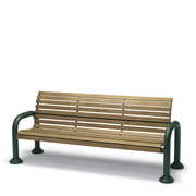 CA1112C  Camden 6' Faux-Wood Contour Bench with Armrests (Portable/Surface Mounted)
