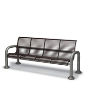 CA1114C  Camden 6' Steel Rod Contour Bench with Armrests (Portable/Surface Mounted)