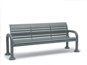CA1119C  Camden 6' Horizontal Slat Contour Bench with Armrests (Portable/Surface Mounted)