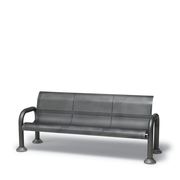 CA1111C  Camden 6' Square Perforation Contour Bench with Armrests (Portable/Surface Mounted)