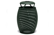 TA3A33P  UrbanScape Style A Spiral Slat 32 Gallon Trash Receptacle with Ash Bonnet Top