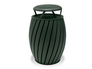 TA3B3GP  UrbanScape Style A Wide Slat 32 Gallon Trash Receptacle with Bonnet Top Lid - Powder Coat Finished