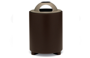 TE3C36P  UrbanScape Style E Round Perforated Steel 32 Gallon Trash Receptacle with Ash Dome Lid