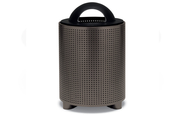TE3D31P  UrbanScape Style E Square Perforated Steel 32 Gallon Trash Receptacle with Dome Top