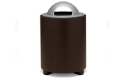 TE3D36P  UrbanScape Style E Round Perforated Steel 32 Gallon Trash Receptacle with Dome Lid