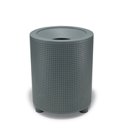TE3F36P  UrbanScape Style E Round Perforated Steel Trash Receptacle with Flat Top Lid