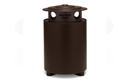 TE3S36P  UrbanScape Style E Round Perforated Steel 32 Gallon Receptacle with Recycling Lid