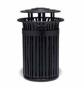 TJ3A33P  UrbanScape Style J 32 Gallon Aluminum Slat Trash Receptacle with Ash Bonnet Top