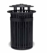TJ3B33P  UrbanScape Style J 32 Gallon Aluminum Slat Trash Receptacle with Bonnet Top