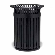 TJ3F33P  UrbanScape Style J 32 Gallon Aluminum Slat Trash Receptacle with Open Flat Top