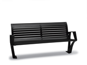 WO1119S  Woodridge Collection 6' Contour Bench with Powder Coat Finish (Surface Mounted)