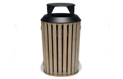 WO3B32P  Woodridge Collection 32 Gallon Trash Receptacle with Bonnet Top - Faux-Wood Finish