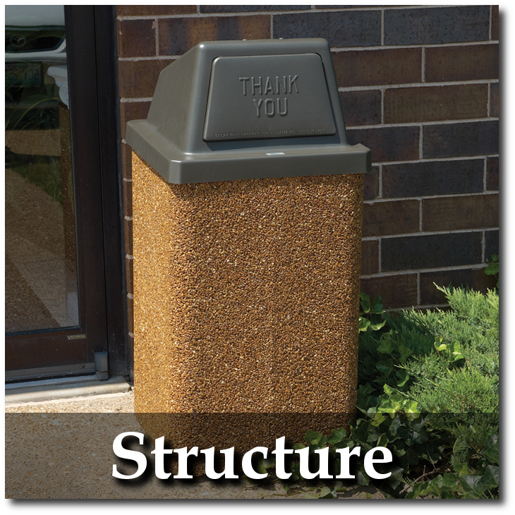 Structure Collection Stone Trash Recepacles