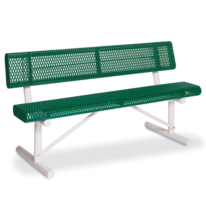 F1050 Victory 6' Rolled Edge Expanded Steel Bench with Back (Portable)