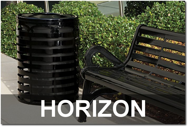 Horizon Collection Steel Slat Outdoor Commercial Site Furnishings
