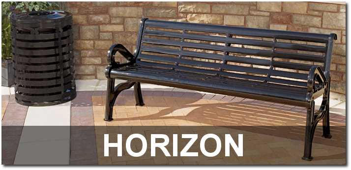 Horizon Collection Steel Slat Park Benches