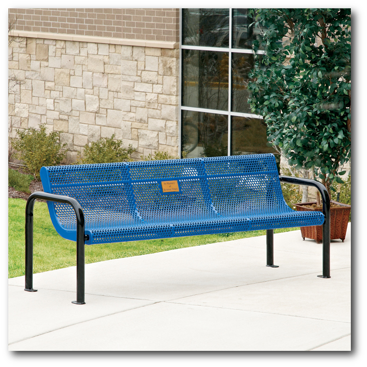 Rally Collection Perforated Steel Park Bench