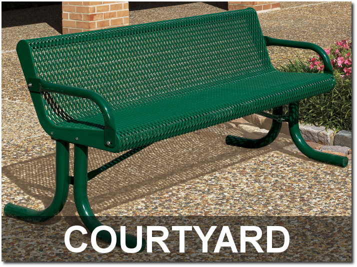 Courtyard Collection Expanded Steel Outdoor Commercial Park Benches