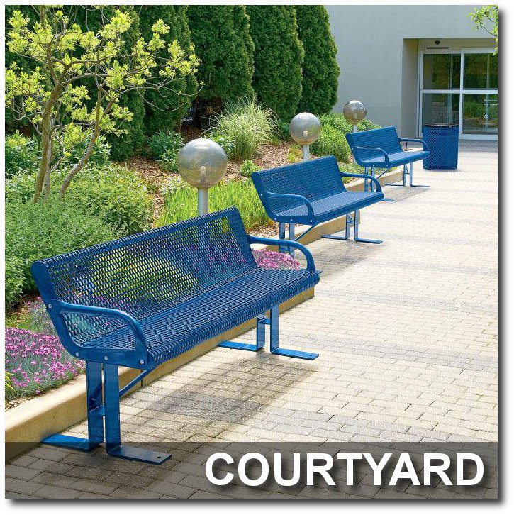 Courtyard Steel Park Benches