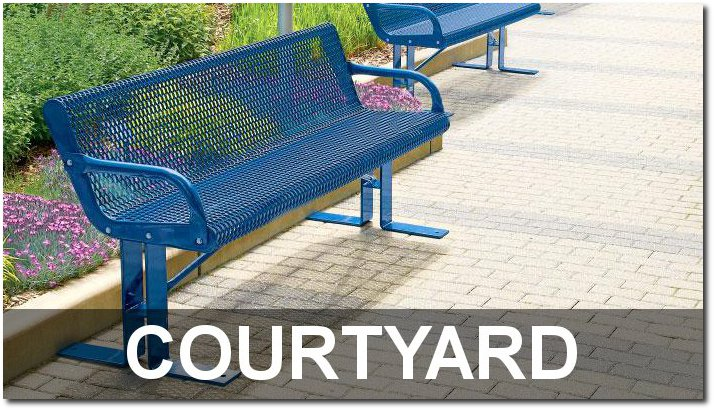 Courtyard Collection Expanded Steel Outdoor Park Benches
