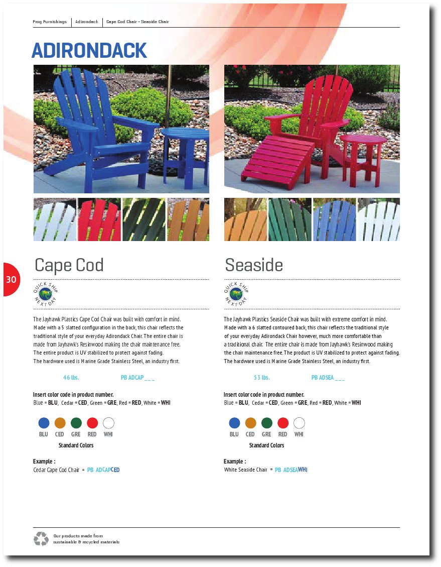 Adirondack Chairs Catalog Page
