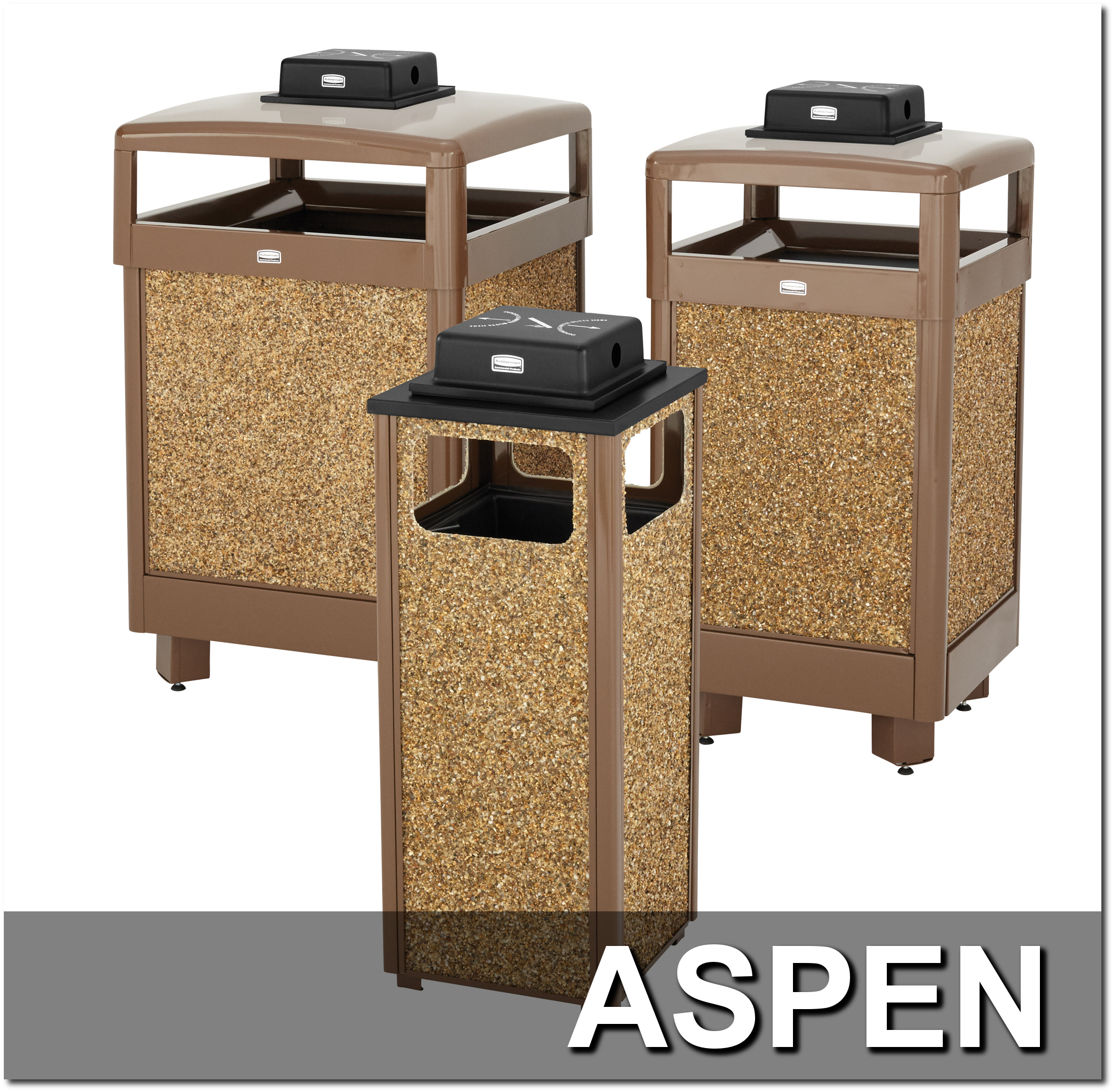 Aspen Series Stone Trash Receptacles