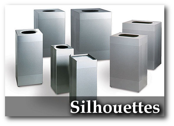 Silhouettes Collection Contemporary Perforated Steel Trash Receptacles