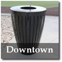 Downtown 32 Gallon Slatted Steel Tapered Trash Receptacle