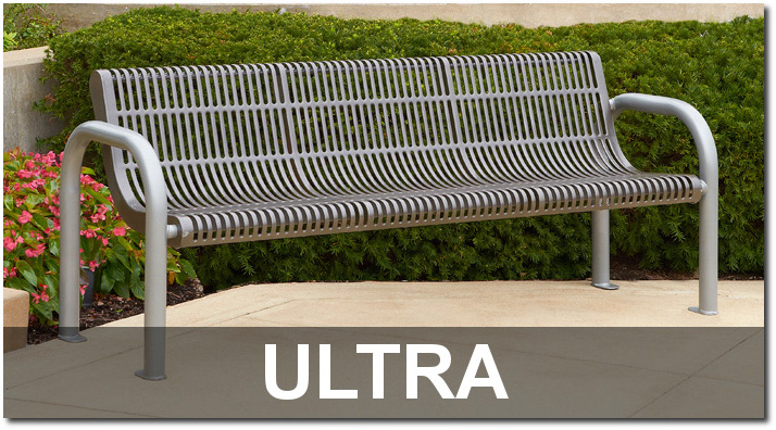Ultra Collection Slotted Steel Outdoor Commercial Furnishings