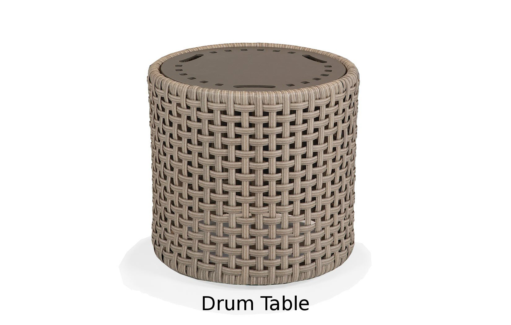 M81086  Alon Collection Drum Table with Stamped Aluminum Top
