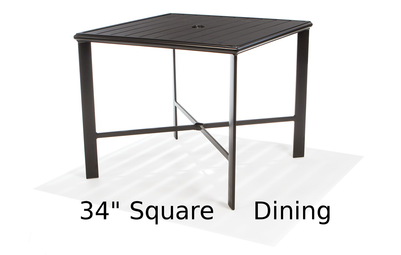M9734-ST  34 Inch Square Aluminum Slat Top Dining Table