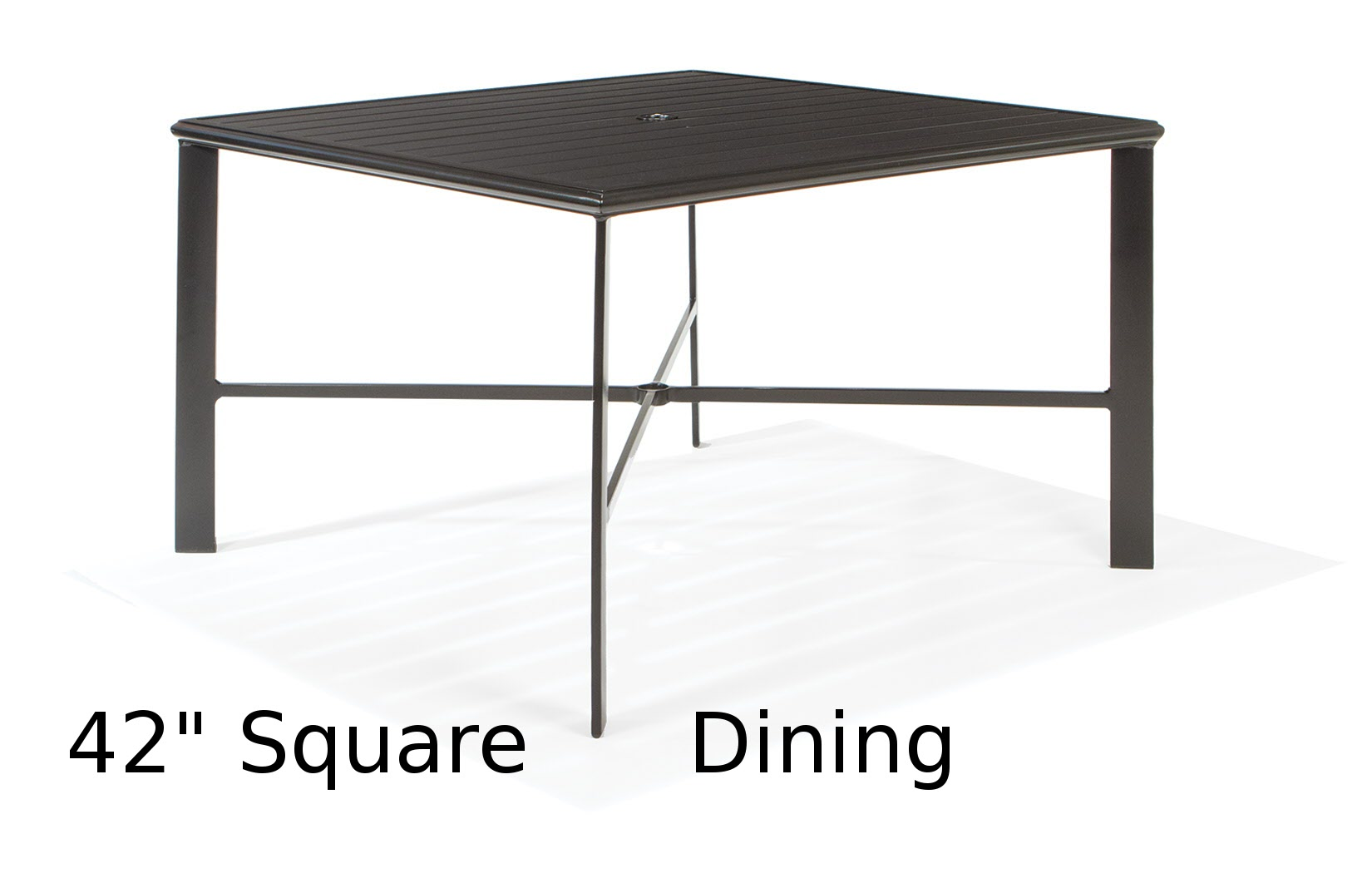 M9742-ST  43 Inch Square Aluminum Slat Top Dining Table