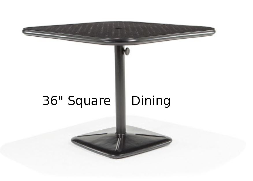 M9836-SST  Stamped Aluminum 36 Square Dining Table