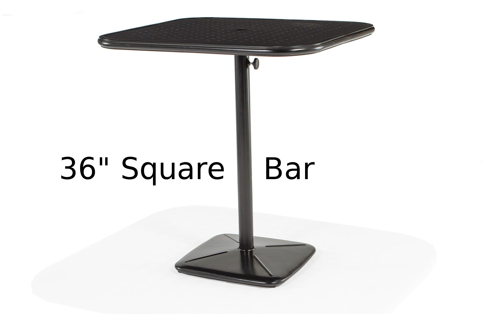 M9836B-SST  Stamped aluminum 36 Inch Square Bar Height Table