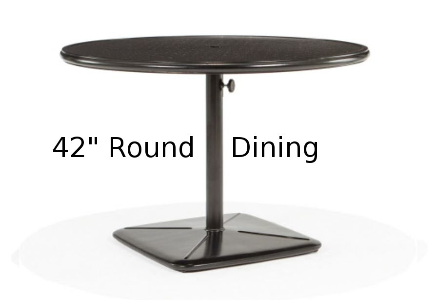 M9842-RST  Stamped Aluminum 42 Inch Round Dining Table