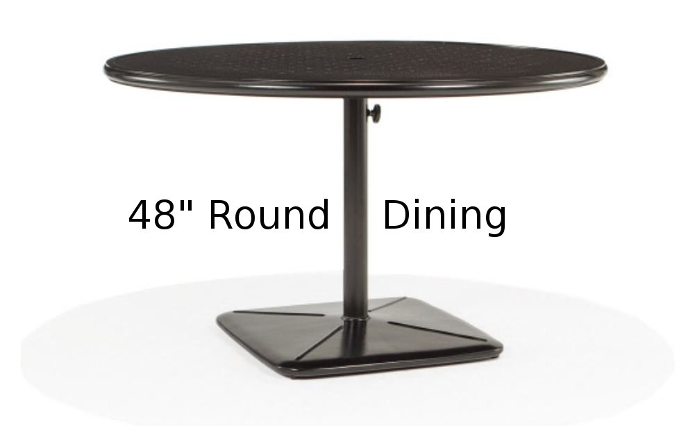 M9848-RST  Stamped Aluminum 48 Inch Round Dining Table