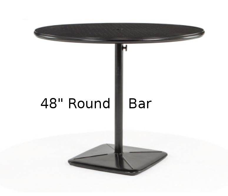 M9848B-RST  Stamped Aluminum 48 Inch Round Bar Height Table