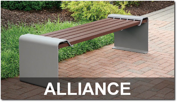 Alliance Collection Contemporary Recycled Plastic Lumber Park Benches