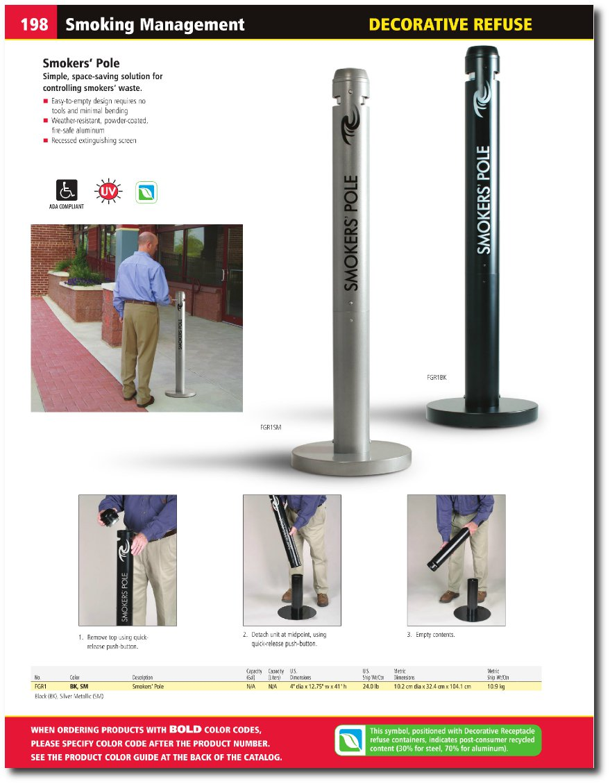 smokers pole cigarette receptacle