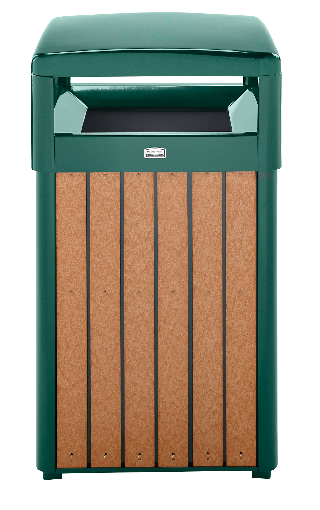 Regent Series Recycled Plastic Slat Trash Receptacle with Dome Top